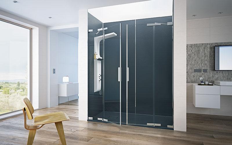 Die Duschwanne KINESURF PIETRA und die Wandpaneele KINEWALL PIETRA machen dank ihrer authentischen Steinoptik die Dusche zum stilvollen Hingucker des Badezimmers.